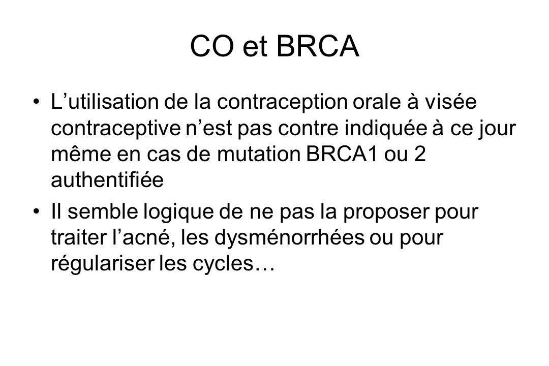 CO et BRCA Lutilisation de la contraception orale à visée contraceptive nest pas contre indiquée à ce jour même en cas de mutation BRCA1 ou 2 authenti