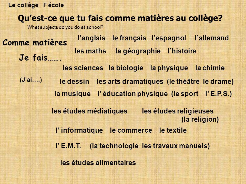Quest-ce que tu fais comme matières au collège? Comme matières Je fais……. langlais le français lespagnol lallemand les maths la géographie lhistoire l