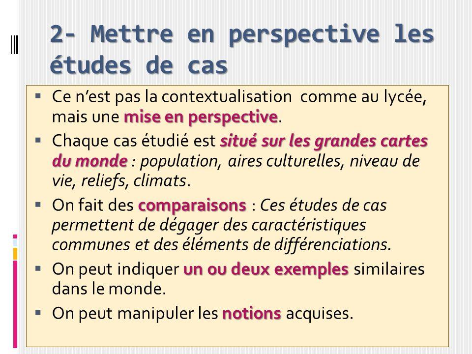 2- Mettre en perspective les études de cas mise en perspective Ce nest pas la contextualisation comme au lycée, mais une mise en perspective. situé su