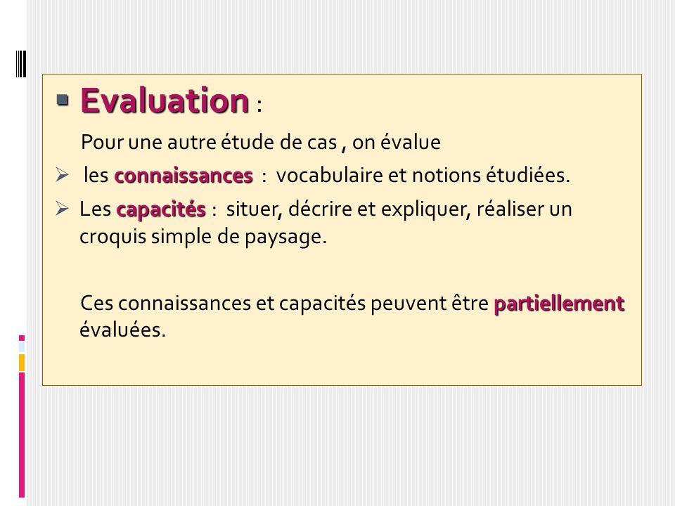 Evaluation Evaluation : Pour une autre étude de cas, on évalue connaissances les connaissances : vocabulaire et notions étudiées. capacités Les capaci