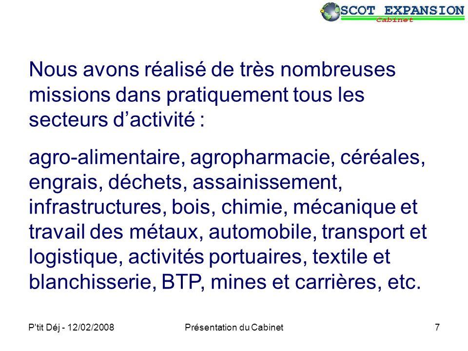 P tit Déj - 12/02/2008Présentation du Cabinet18 Nos moyens Laboratoire Acquisitions de données environnementales Expertises physico-chimiques