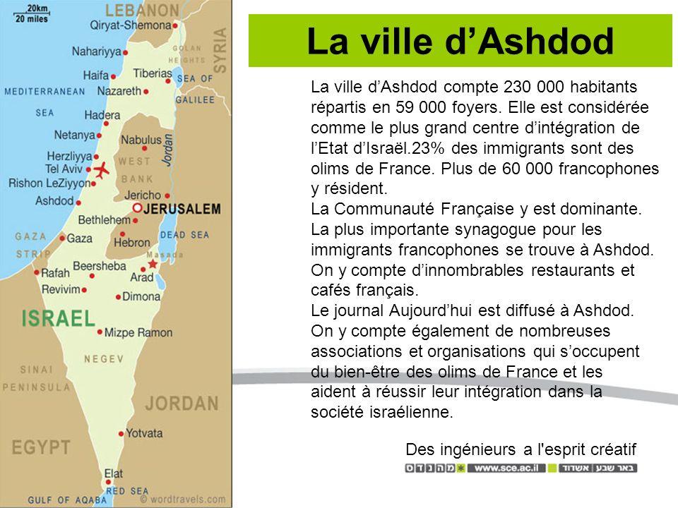 La ville dAshdod La ville dAshdod compte 230 000 habitants répartis en 59 000 foyers.