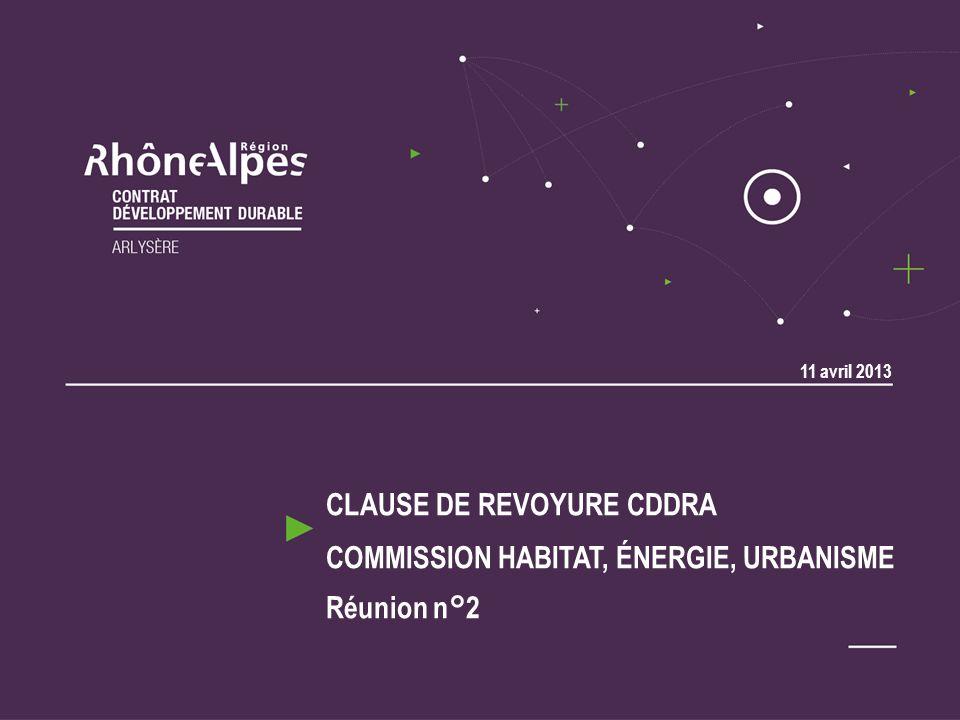 CLAUSE DE REVOYURE CDDRA COMMISSION HABITAT ÉNERGIE URBANISME OpérationMOI/FDS Taux sub Sub CDDRA Sub CTS Etude pour la mise en place d une ZAP (Zone Agricole Protégée) sur 2 communes CommunesI15 00050% 7 500,00 (PSADER) - Action 3.2.1.1.