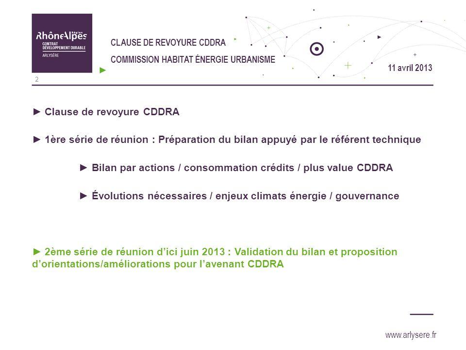 11 avril 2013 Clause de revoyure CDDRA 1ère série de réunion : Préparation du bilan appuyé par le référent technique Bilan par actions / consommation