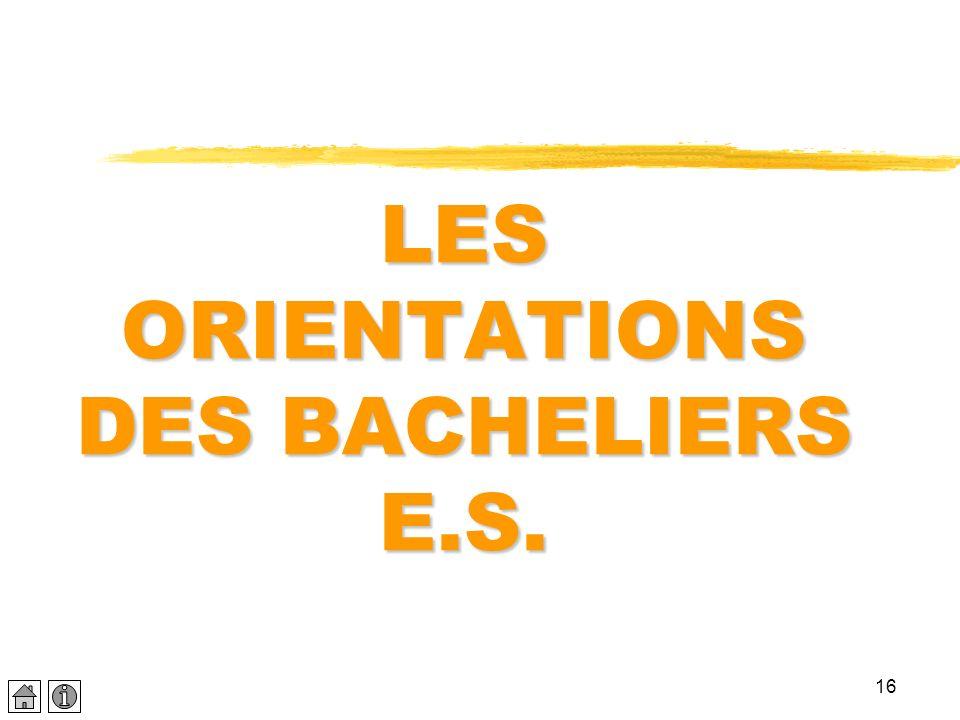 16 LES ORIENTATIONS DES BACHELIERS E.S.