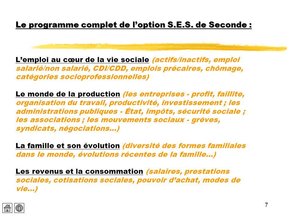 7 Le programme complet de loption S.E.S. de Seconde : Le programme complet de loption S.E.S. de Seconde : Lemploi au cœur de la vie sociale (actifs/in