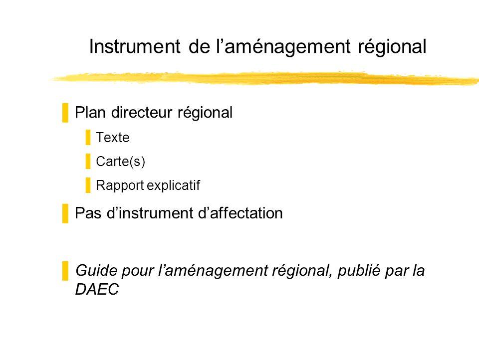 Instrument de laménagement régional Plan directeur régional Texte Carte(s) Rapport explicatif Pas dinstrument daffectation Guide pour laménagement rég