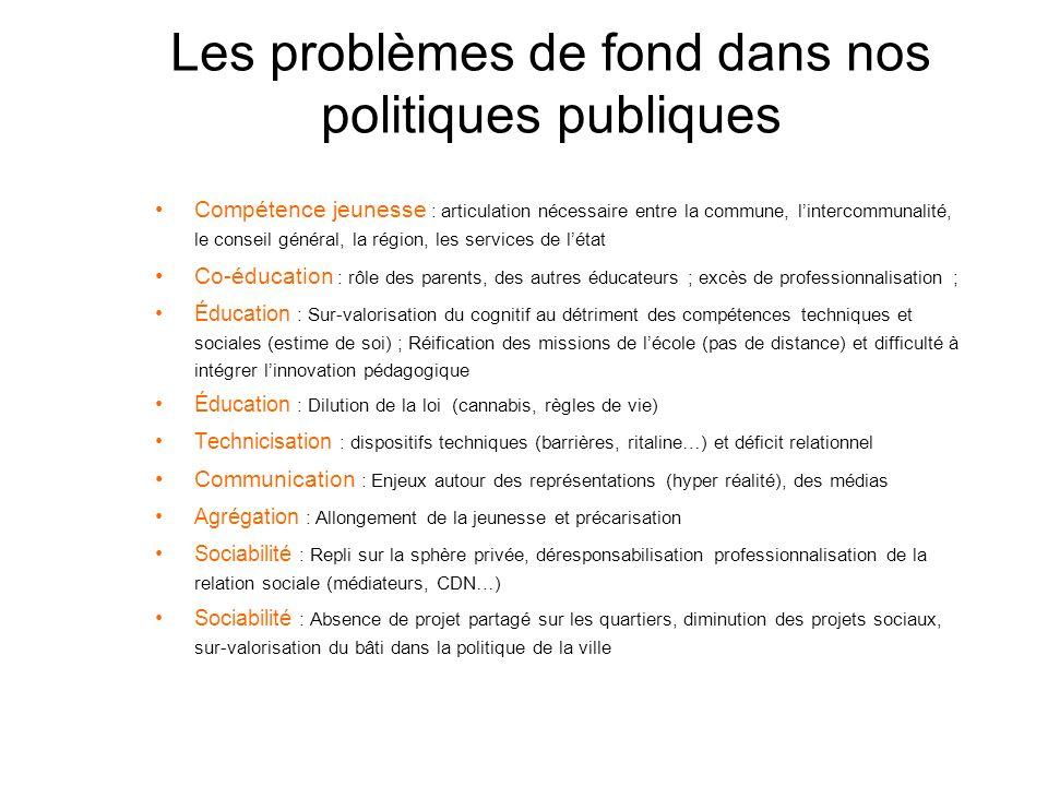 Les problèmes de fond dans nos politiques publiques Compétence jeunesse : articulation nécessaire entre la commune, lintercommunalité, le conseil géné