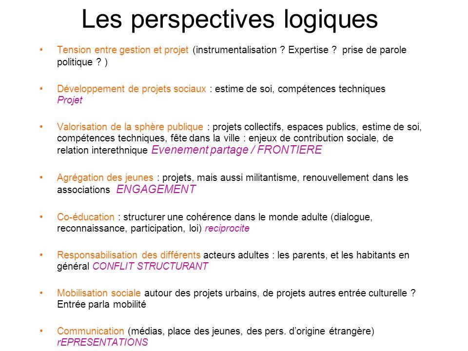 Les perspectives logiques Tension entre gestion et projet (instrumentalisation ? Expertise ? prise de parole politique ? ) Développement de projets so