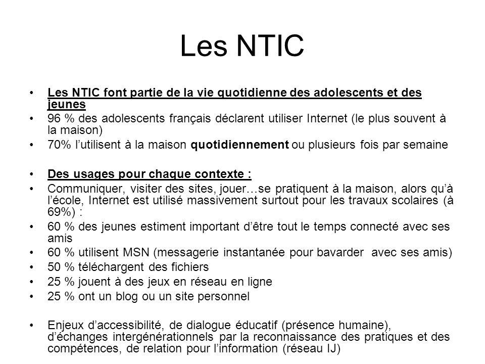 Les NTIC Les NTIC font partie de la vie quotidienne des adolescents et des jeunes 96 % des adolescents français déclarent utiliser Internet (le plus s