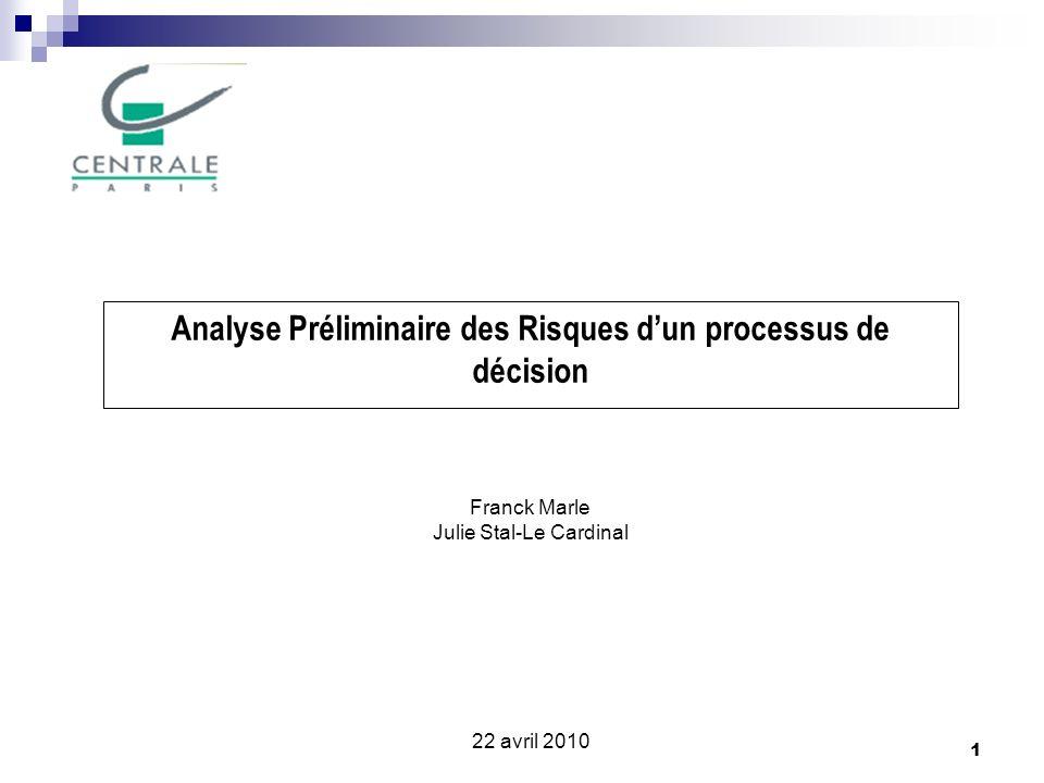 22 Conclusion Lanalyse de risques est considérée comme une étape lors du processus de décision et non pas comme un outil pour évaluer ce processus lui-même.