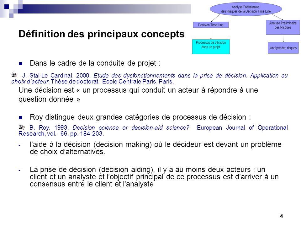 5 Définition des principaux concepts Cest un modèle générique modélisant et structurant le processus de décision dans le cadre de la conduite de projet Représentation de la DTL J.