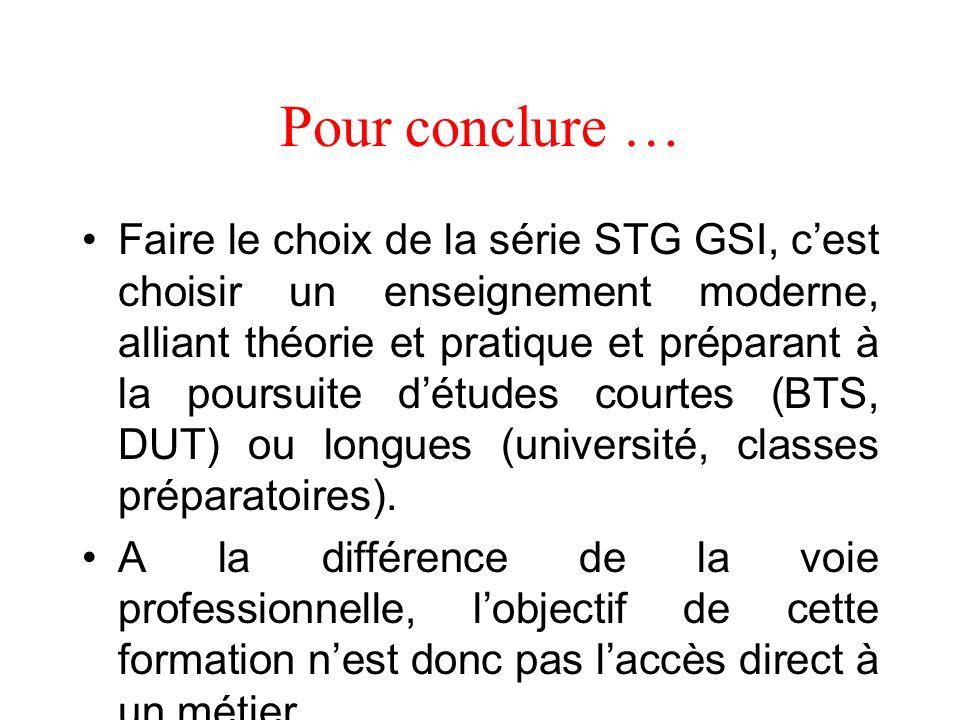 Les programmes denseignement de la série STG GSI ont été établi par référence aux champs académiques correspondants.
