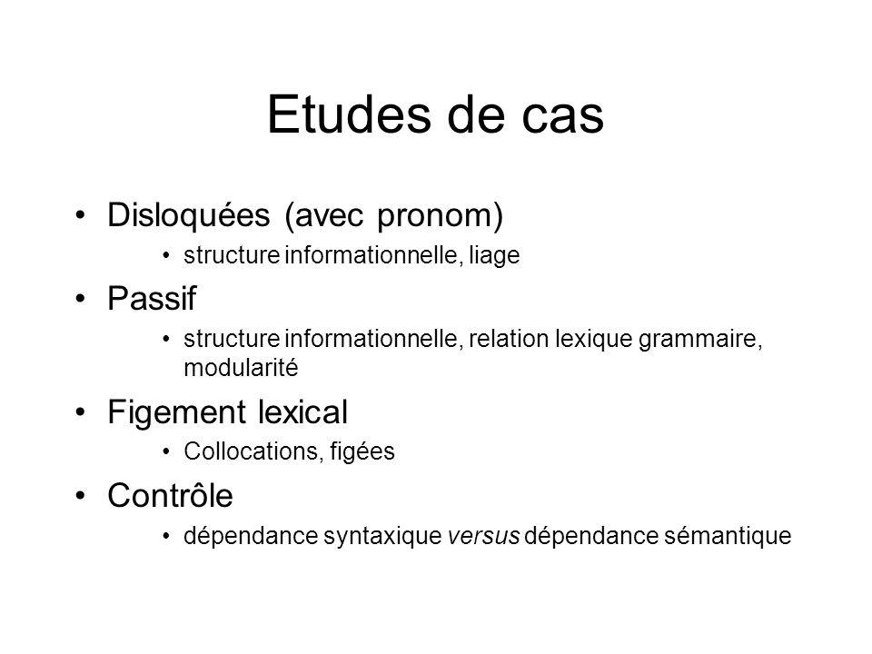 Etudes de cas Disloquées (avec pronom) structure informationnelle, liage Passif structure informationnelle, relation lexique grammaire, modularité Fig