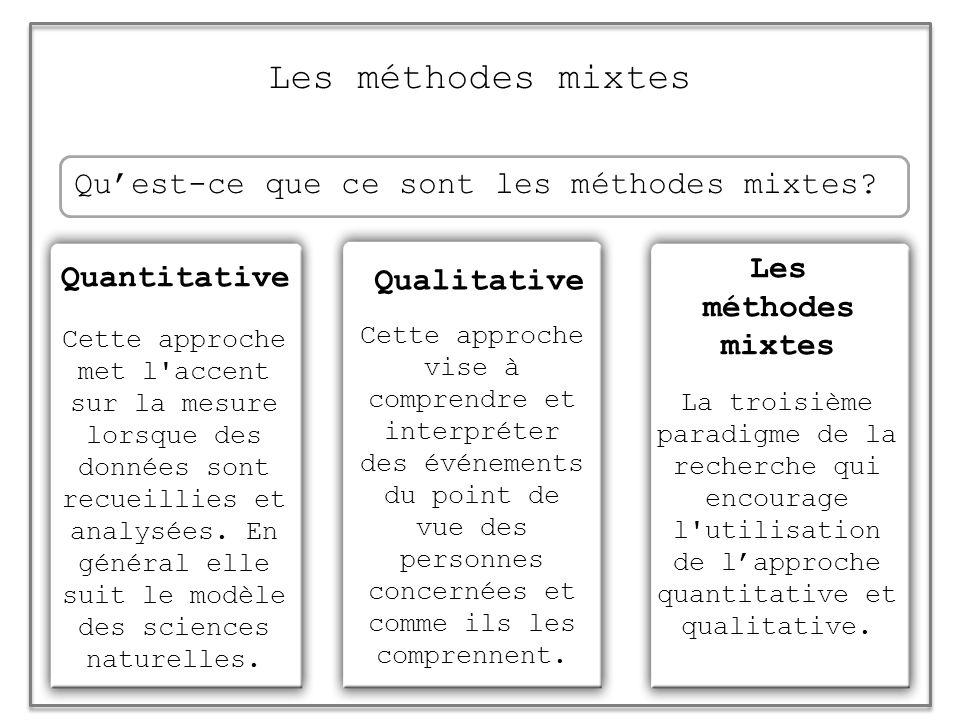 Quest-ce que ce sont les méthodes mixtes? Les méthodes mixtes La troisième paradigme de la recherche qui encourage l'utilisation de lapproche quantita