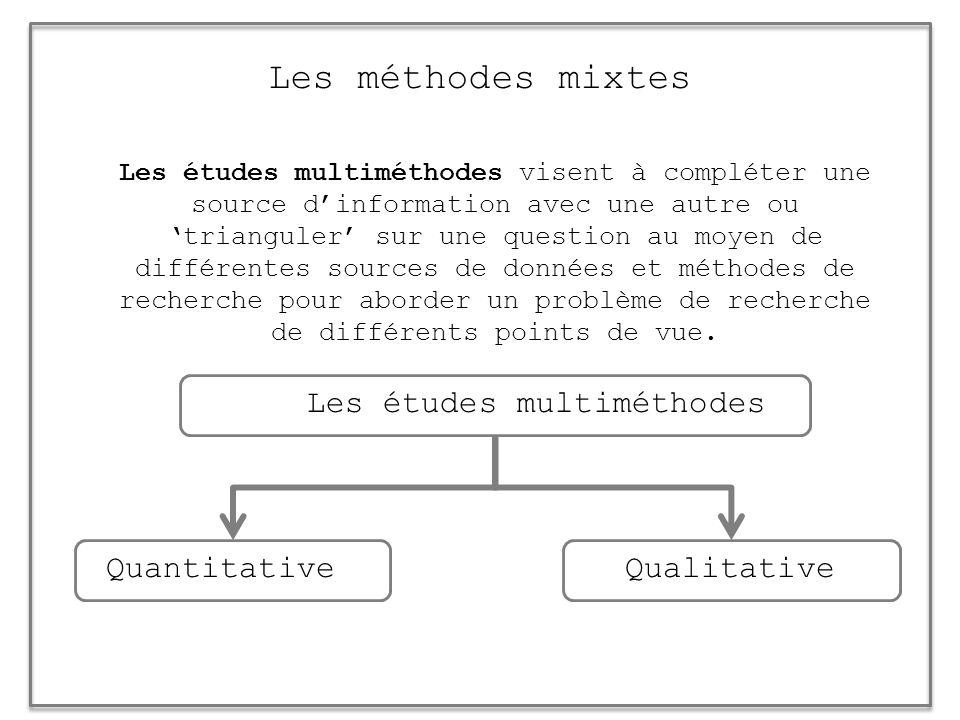 Les méthodes mixtes Les études multiméthodes visent à compléter une source dinformation avec une autre ou trianguler sur une question au moyen de diff