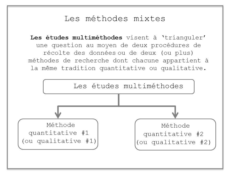 Les méthodes mixtes Les études multiméthodes visent à trianguler une question au moyen de deux procédures de récolte des données ou de deux (ou plus)