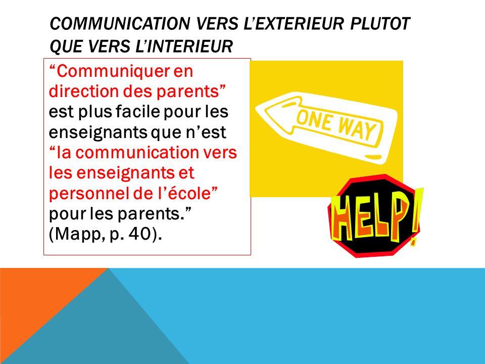 COMMUNICATION VERS LEXTERIEUR PLUTOT QUE VERS LINTERIEUR Communiquer en direction des parents est plus facile pour les enseignants que nest la communication vers les enseignants et personnel de lécole pour les parents.