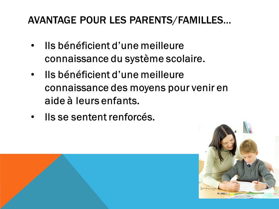 AVANTAGE POUR LES PARENTS/FAMILLES… Ils bénéficient dune meilleure connaissance du système scolaire.