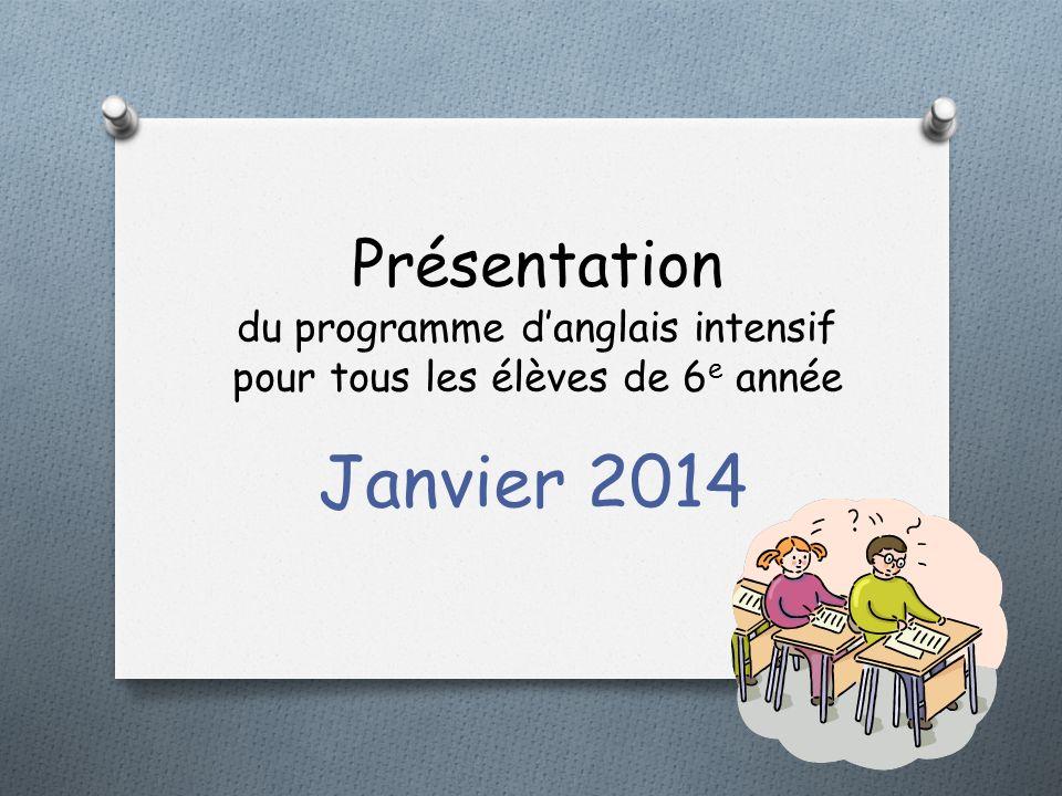 Présentation du programme danglais intensif pour tous les élèves de 6 e année Janvier 2014