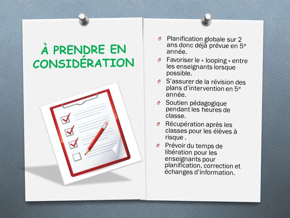 À PRENDRE EN CONSIDÉRATION O Planification globale sur 2 ans donc déjà prévue en 5 e année.
