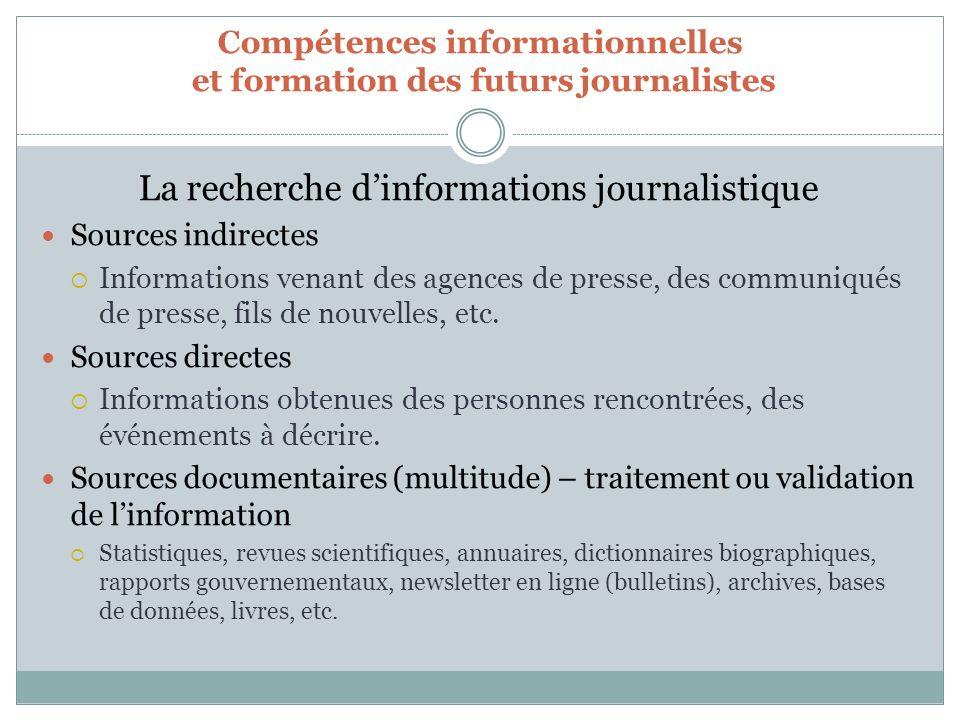 Compétences informationnelles et formation des futurs journalistes La recherche dinformations journalistique Sources indirectes Informations venant des agences de presse, des communiqués de presse, fils de nouvelles, etc.