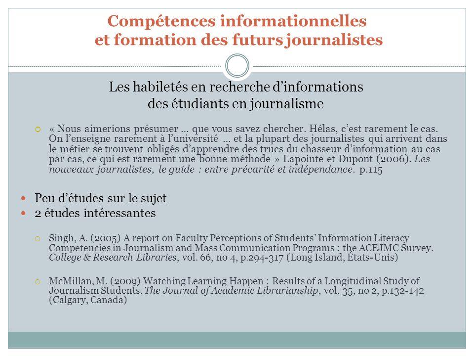 Compétences informationnelles et formation des futurs journalistes Les habiletés en recherche dinformations des étudiants en journalisme « Nous aimerions présumer … que vous savez chercher.