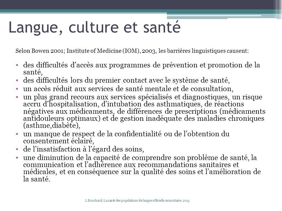 Langue, culture et santé Selon Bowen 2001; Institute of Medicine (IOM), 2003, les barrières linguistiques causent: des difficultés daccès aux programm