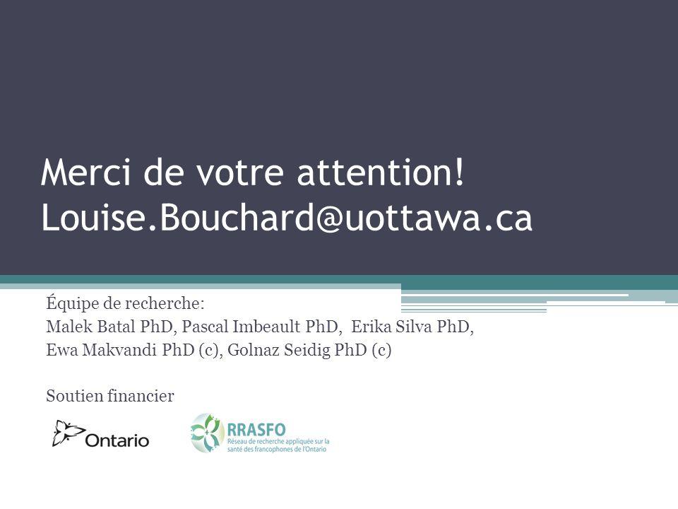 Merci de votre attention! Louise.Bouchard@uottawa.ca Équipe de recherche: Malek Batal PhD, Pascal Imbeault PhD, Erika Silva PhD, Ewa Makvandi PhD (c),