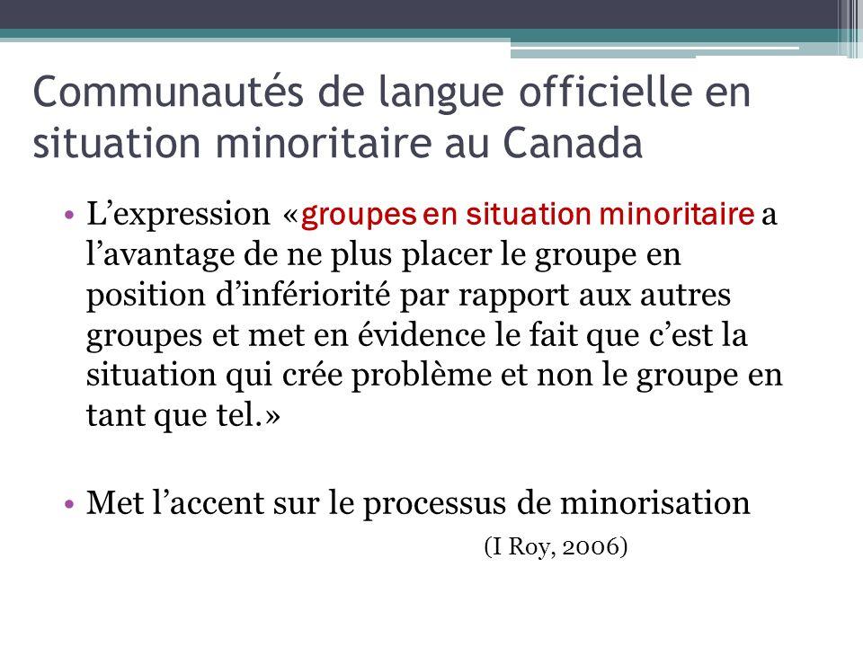 Communautés de langue officielle en situation minoritaire au Canada Lexpression « groupes en situation minoritaire a lavantage de ne plus placer le gr