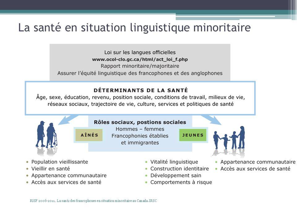 La santé en situation linguistique minoritaire RISF 2006-2011, La sant2 des francophones en situation minoritaire au Canada. IRSC