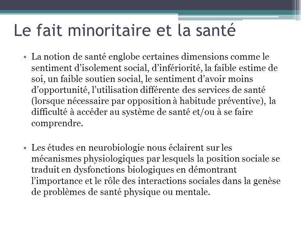 Le fait minoritaire et la santé La notion de santé englobe certaines dimensions comme le sentiment disolement social, dinfériorité, la faible estime d