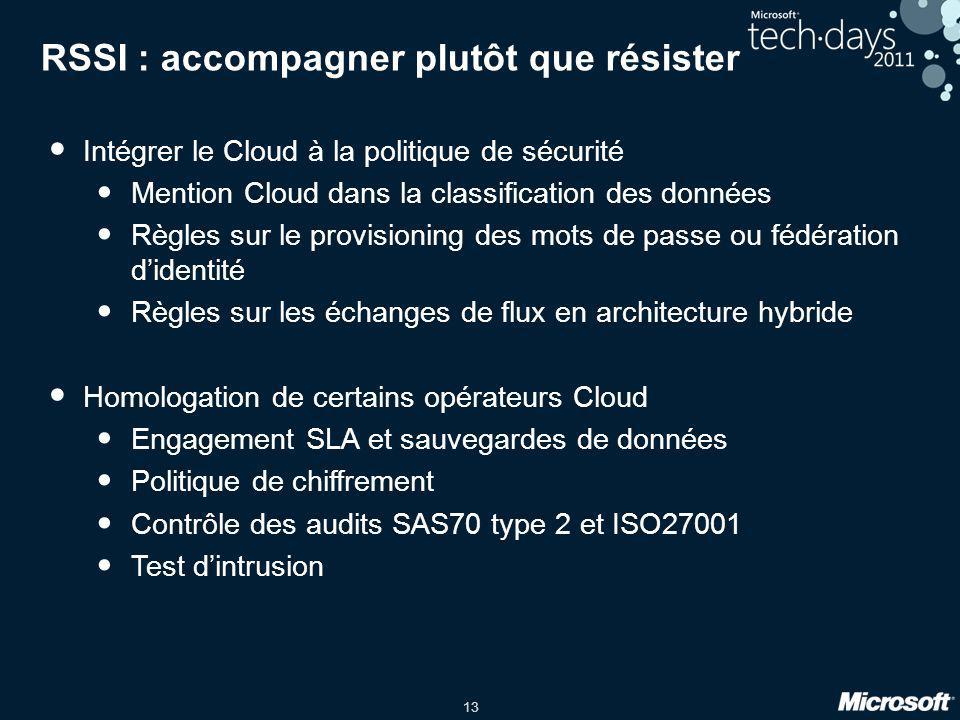 13 RSSI : accompagner plutôt que résister Intégrer le Cloud à la politique de sécurité Mention Cloud dans la classification des données Règles sur le