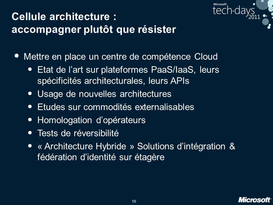 16 Cellule architecture : accompagner plutôt que résister Mettre en place un centre de compétence Cloud Etat de lart sur plateformes PaaS/IaaS, leurs