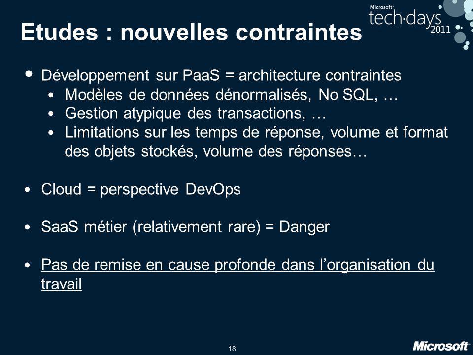 18 Etudes : nouvelles contraintes Développement sur PaaS = architecture contraintes Modèles de données dénormalisés, No SQL, … Gestion atypique des tr