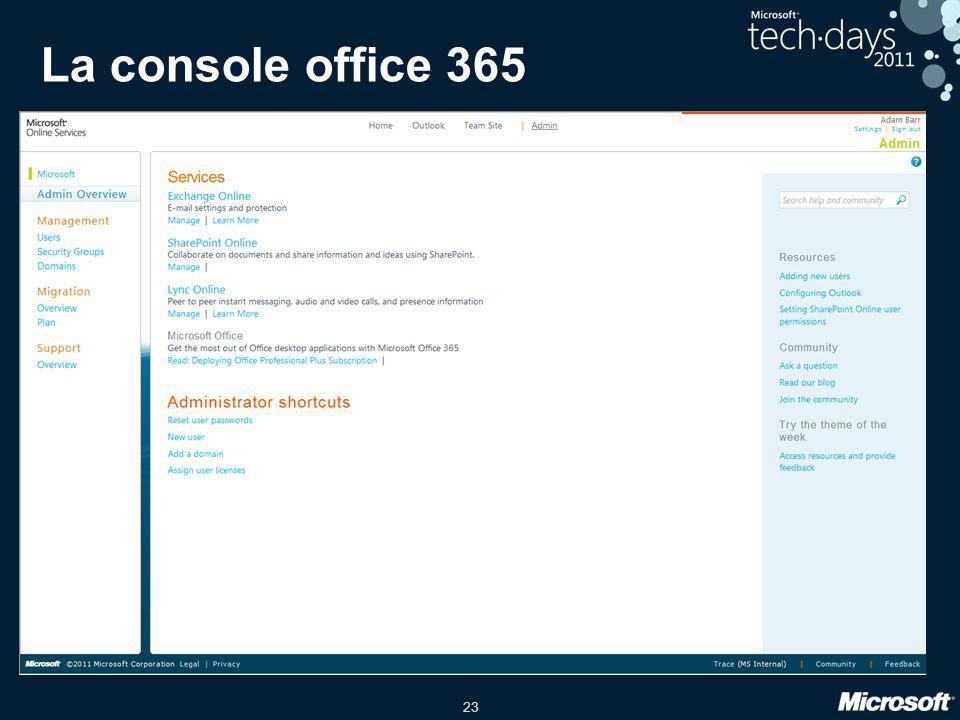 23 La console office 365