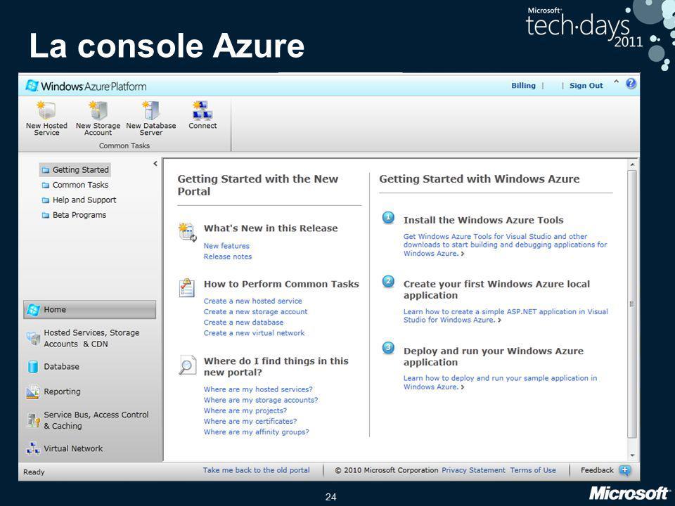 24 La console Azure