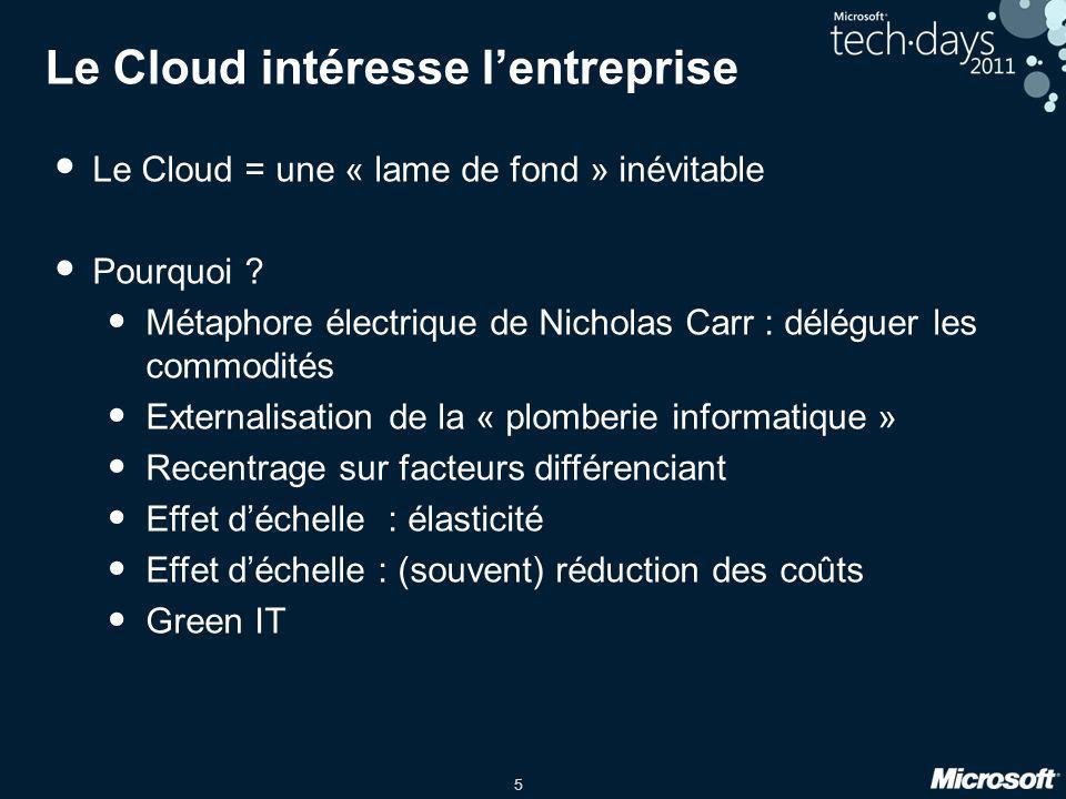 5 Le Cloud intéresse lentreprise Le Cloud = une « lame de fond » inévitable Pourquoi ? Métaphore électrique de Nicholas Carr : déléguer les commodités