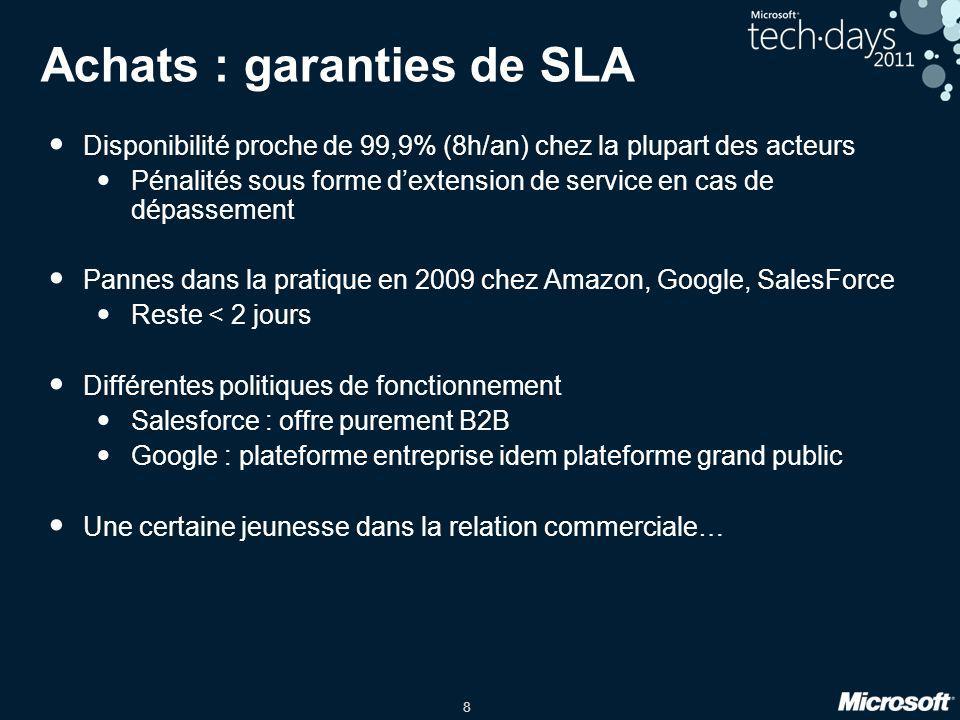 8 Achats : garanties de SLA Disponibilité proche de 99,9% (8h/an) chez la plupart des acteurs Pénalités sous forme dextension de service en cas de dép