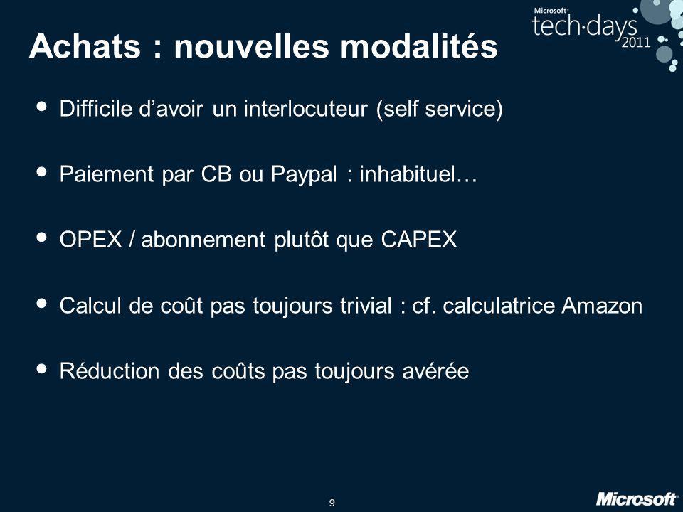 9 Achats : nouvelles modalités Difficile davoir un interlocuteur (self service) Paiement par CB ou Paypal : inhabituel… OPEX / abonnement plutôt que C