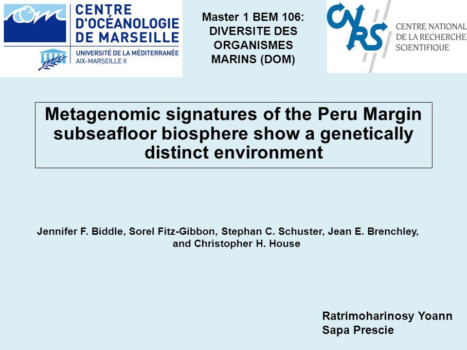 Master 1 BEM 106: DIVERSITE DES ORGANISMES MARINS (DOM) Jennifer F.