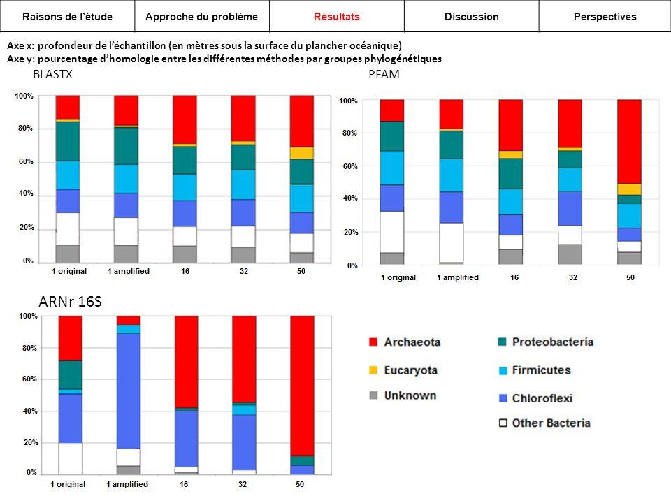 Axe x: profondeur de léchantillon (en mètres sous la surface du plancher océanique) Axe y: pourcentage dhomologie entre les différentes méthodes par groupes phylogénétiques BLASTXPFAM ARNr 16S Raisons de létudeApproche du problèmeRésultatsDiscussionPerspectives