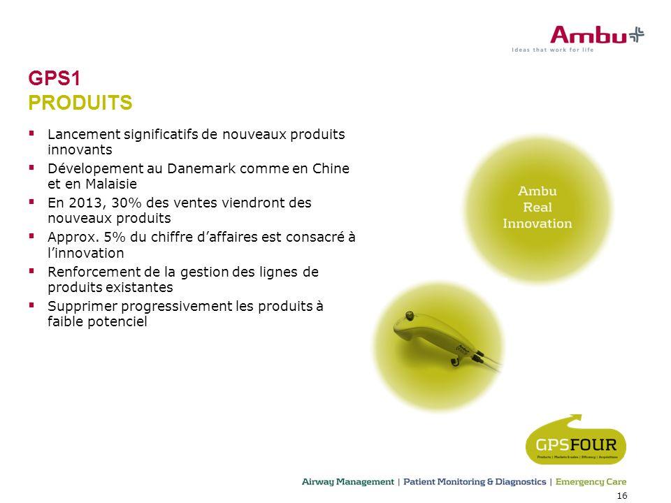 16 GPS1 PRODUITS Lancement significatifs de nouveaux produits innovants Dévelopement au Danemark comme en Chine et en Malaisie En 2013, 30% des ventes viendront des nouveaux produits Approx.