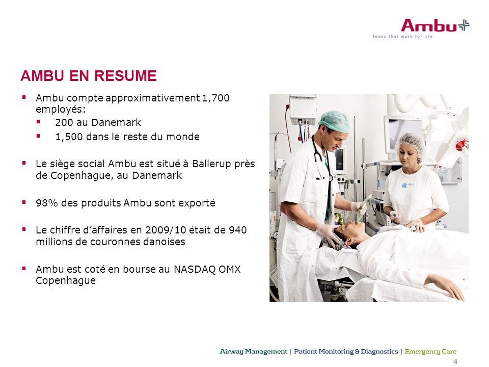 4 Ambu compte approximativement 1,700 employés: 200 au Danemark 1,500 dans le reste du monde Le siège social Ambu est situé à Ballerup près de Copenha