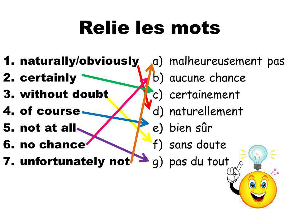 Relie les mots 1.naturally/obviously 2.certainly 3.without doubt 4.of course 5.not at all 6.no chance 7.unfortunately not a)malheureusement pas b)aucu