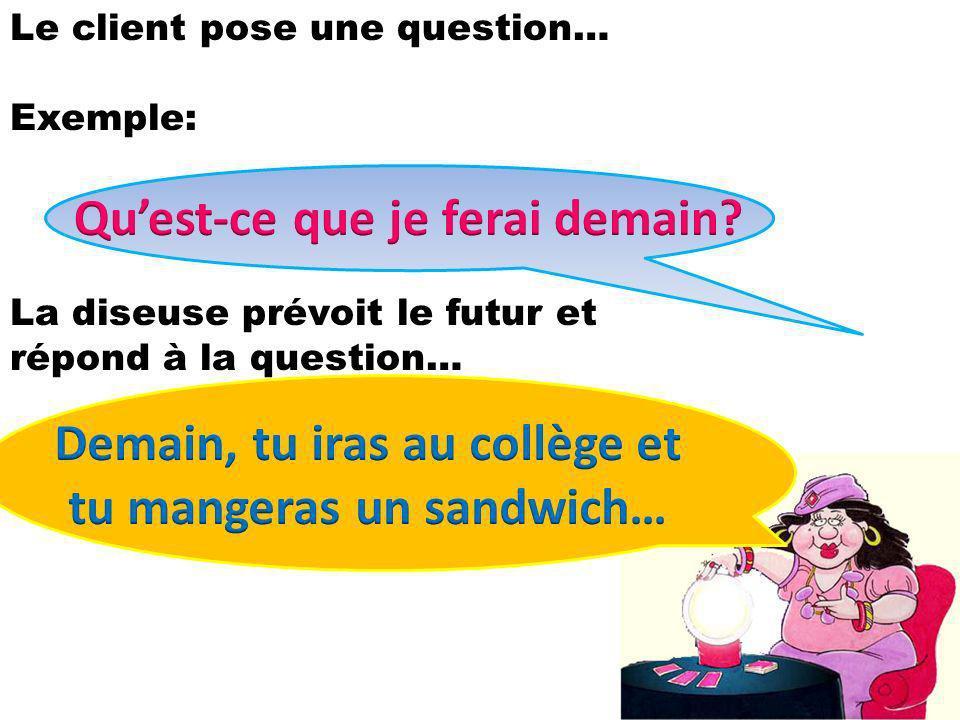Le client pose une question… Exemple: La diseuse prévoit le futur et répond à la question…
