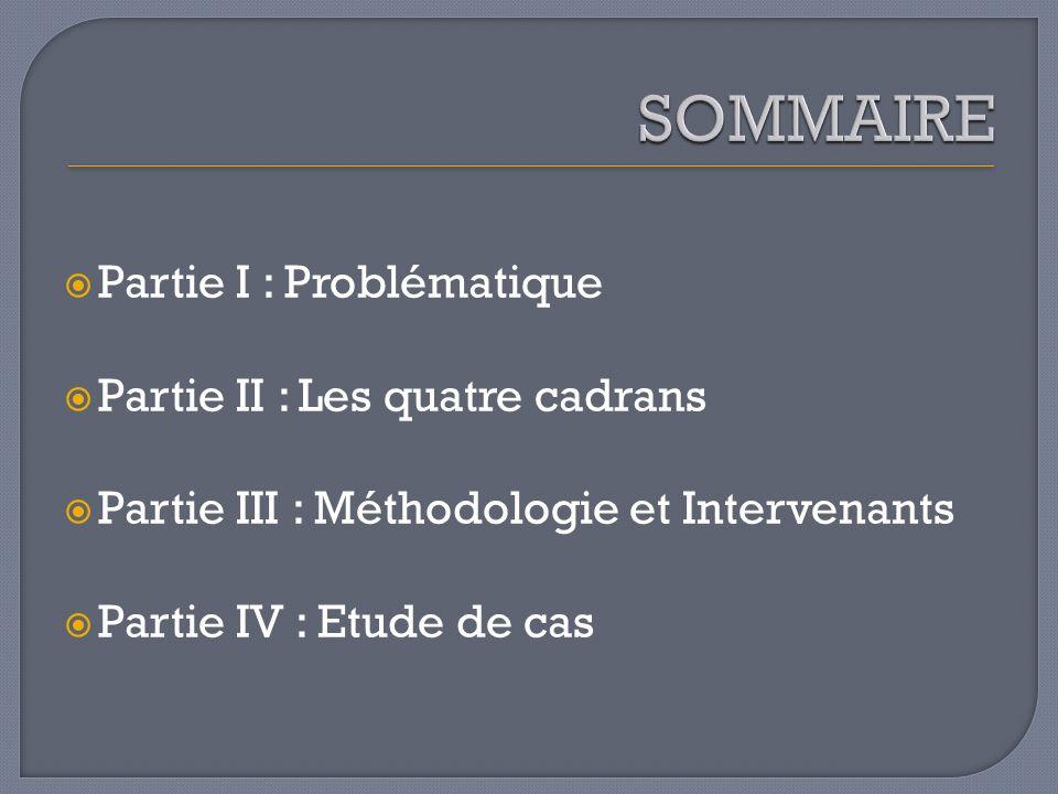Partie I : Problématique Partie II : Les quatre cadrans Partie III : Méthodologie et Intervenants Partie IV : Etude de cas