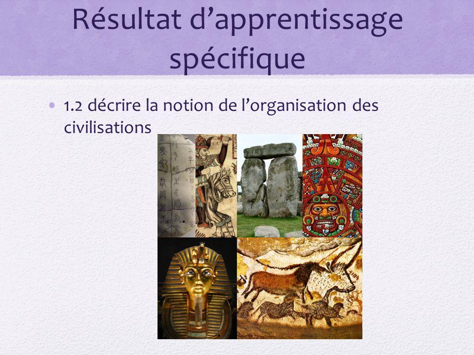 Résultat dapprentissage spécifique 1.2 décrire la notion de lorganisation des civilisations