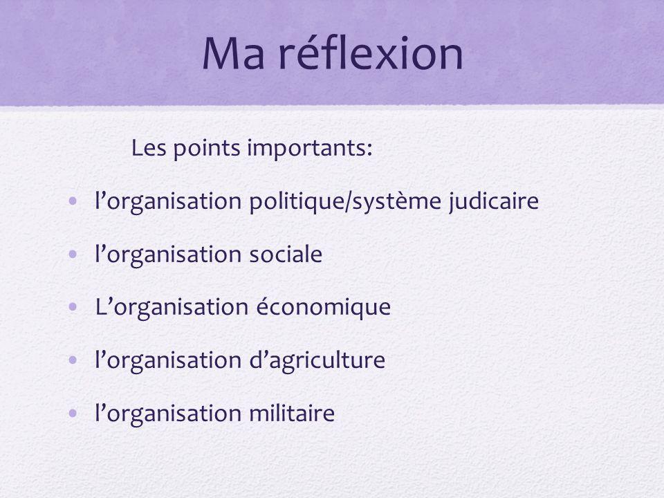 Ma réflexion Les points importants: lorganisation politique/système judicaire lorganisation sociale Lorganisation économique lorganisation dagriculture lorganisation militaire