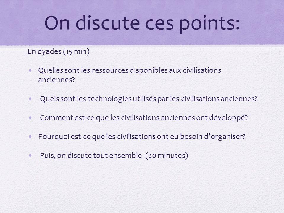 On discute ces points: En dyades (15 min) Quelles sont les ressources disponibles aux civilisations anciennes.